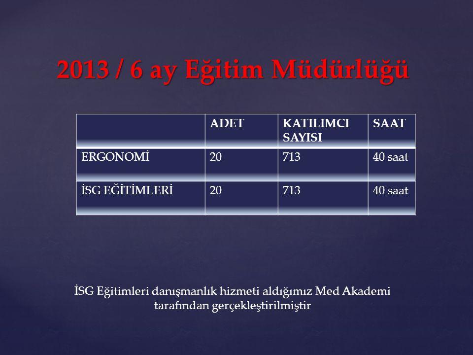 2013 / 6 ay Eğitim Müdürlüğü ADET KATILIMCI SAYISI SAAT ERGONOMİ 20