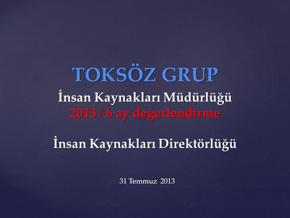 TOKSÖZ GRUP İnsan Kaynakları Müdürlüğü 2013 / 6 ay değerlendirme İnsan Kaynakları Direktörlüğü.