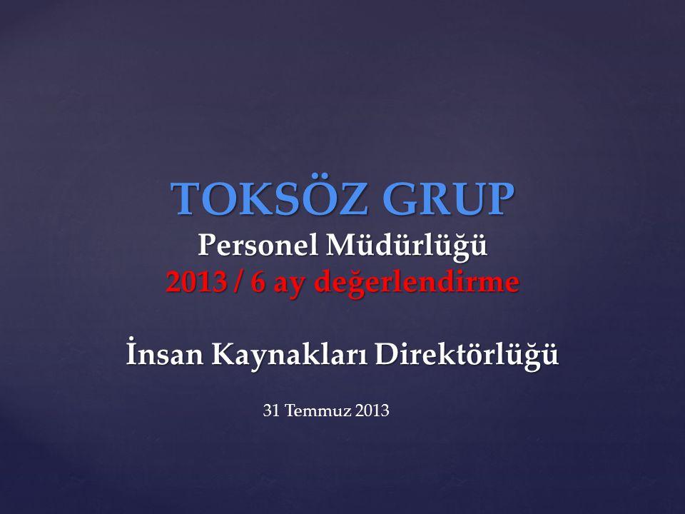 TOKSÖZ GRUP Personel Müdürlüğü 2013 / 6 ay değerlendirme İnsan Kaynakları Direktörlüğü