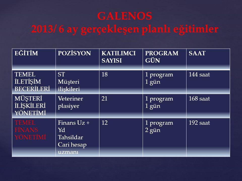 2013/ 6 ay gerçekleşen planlı eğitimler