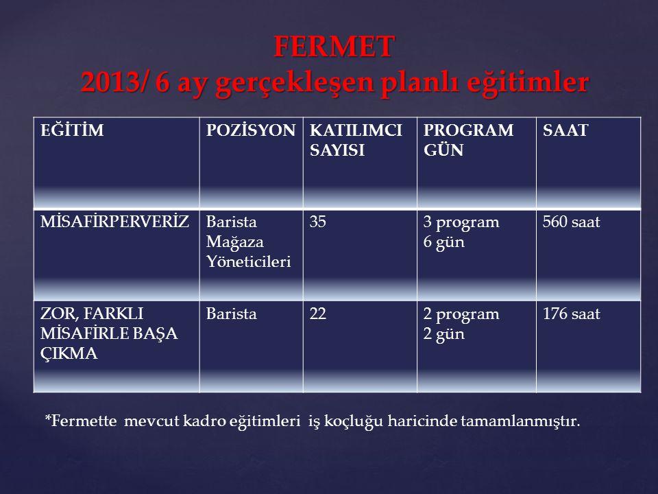 FERMET 2013/ 6 ay gerçekleşen planlı eğitimler