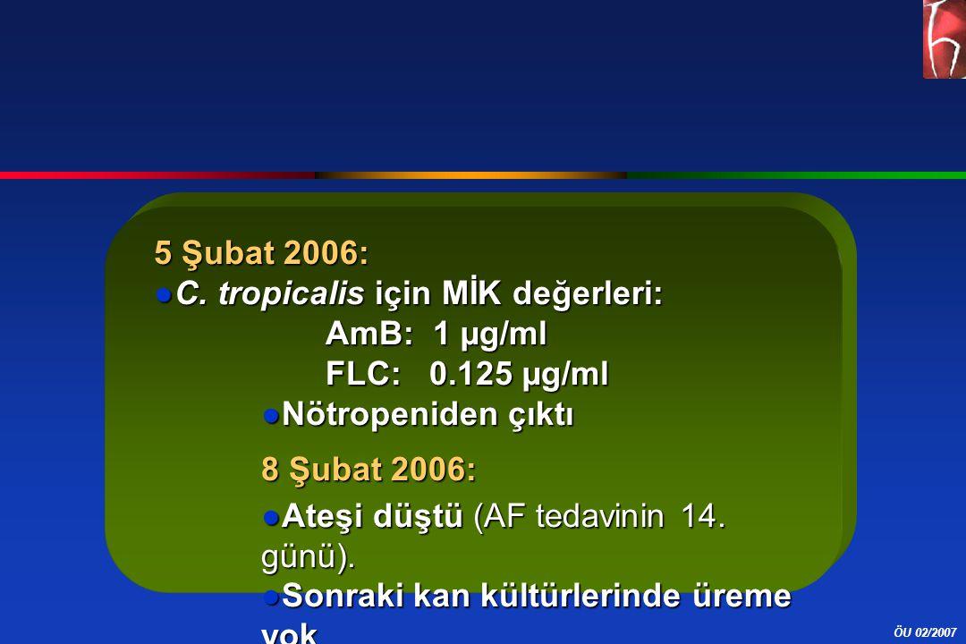 5 Şubat 2006: C. tropicalis için MİK değerleri: AmB: 1 µg/ml. FLC: 0.125 µg/ml. Nötropeniden çıktı.