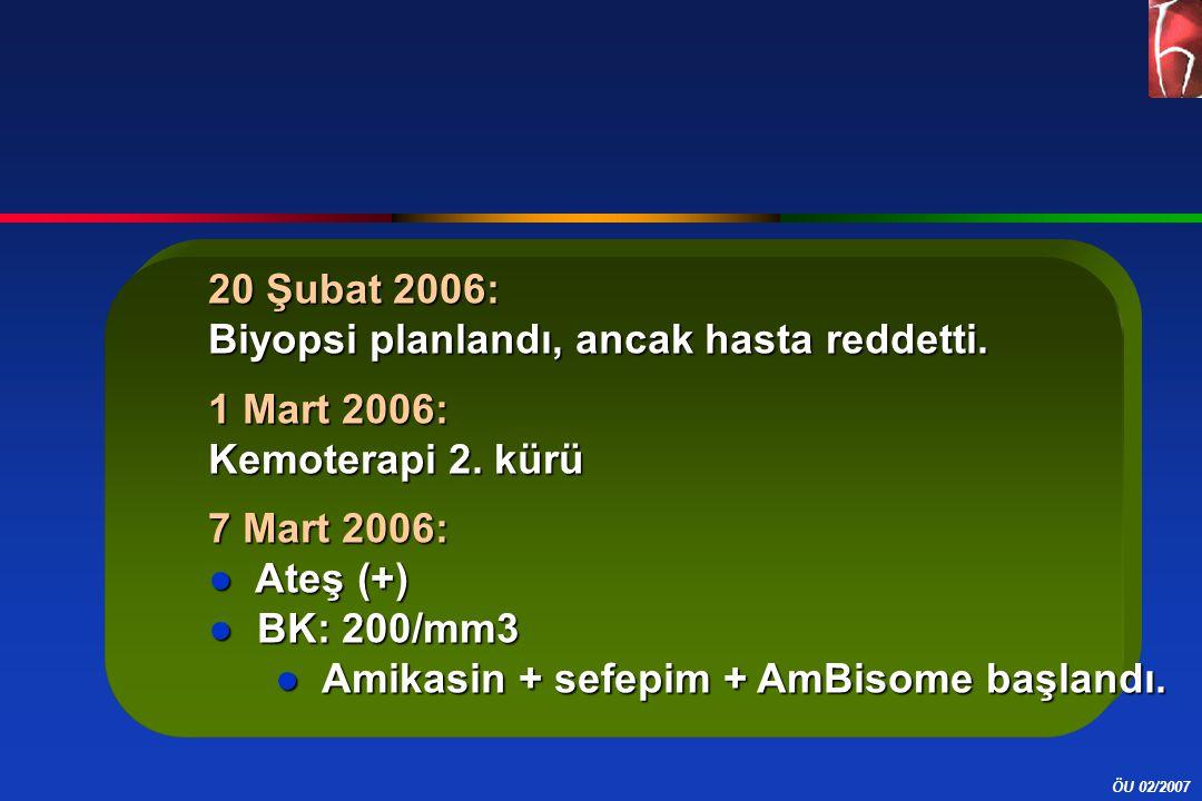 20 Şubat 2006: Biyopsi planlandı, ancak hasta reddetti. 1 Mart 2006: Kemoterapi 2. kürü. 7 Mart 2006: