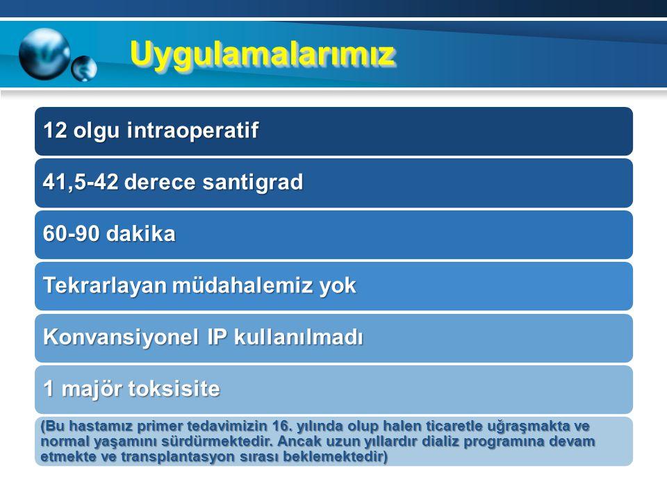 Uygulamalarımız 12 olgu intraoperatif 41,5-42 derece santigrad