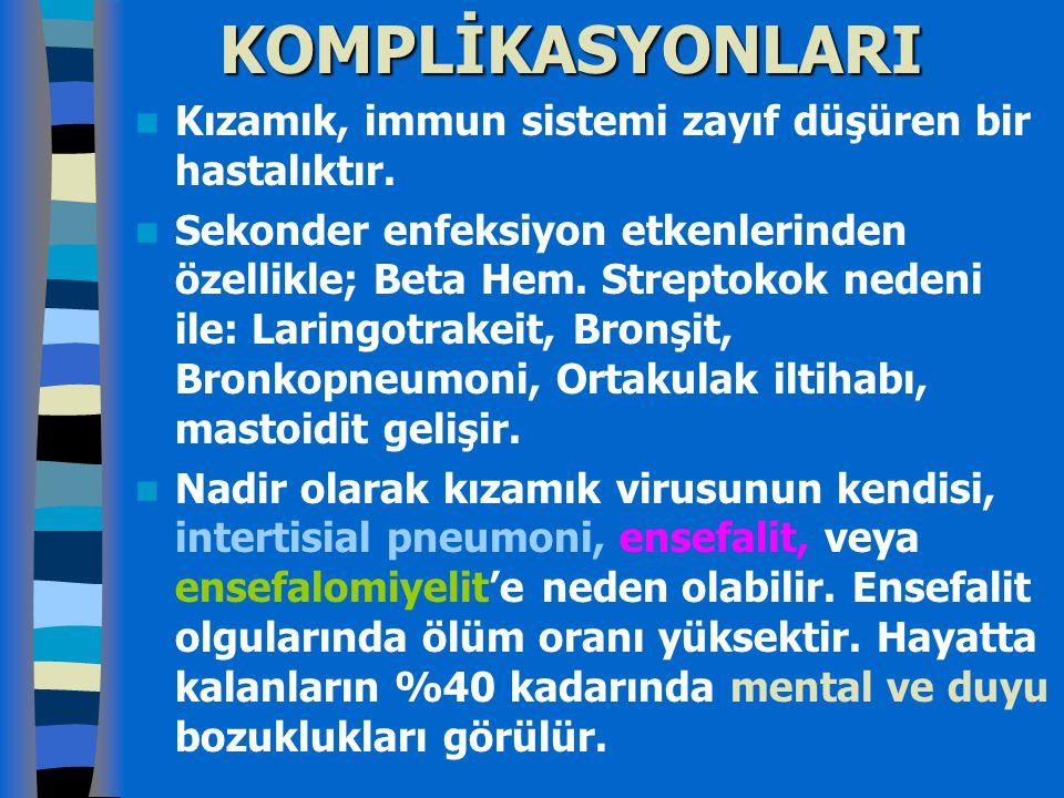 KOMPLİKASYONLARI Kızamık, immun sistemi zayıf düşüren bir hastalıktır.