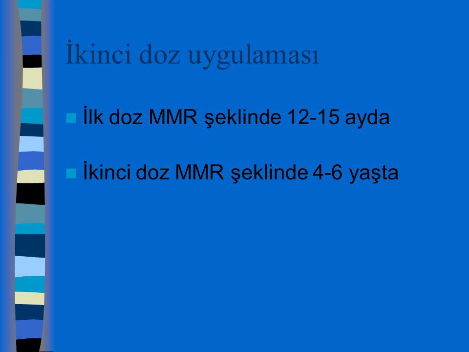 İkinci doz uygulaması İlk doz MMR şeklinde 12-15 ayda