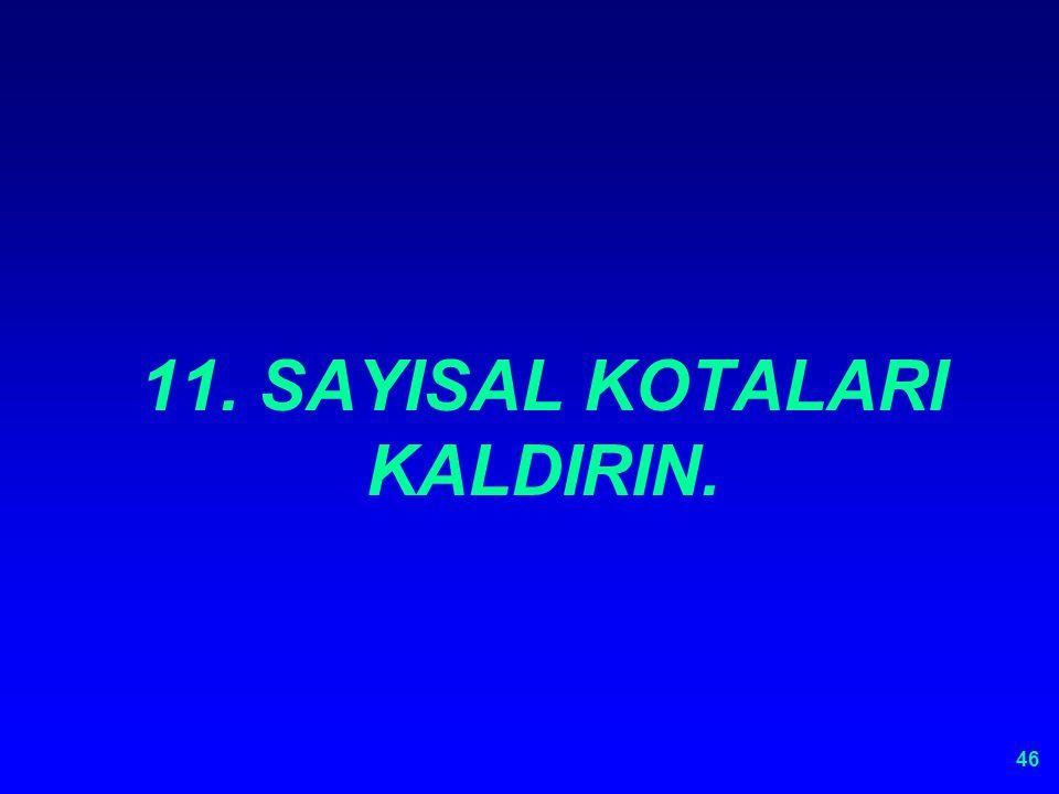 11. SAYISAL KOTALARI KALDIRIN.