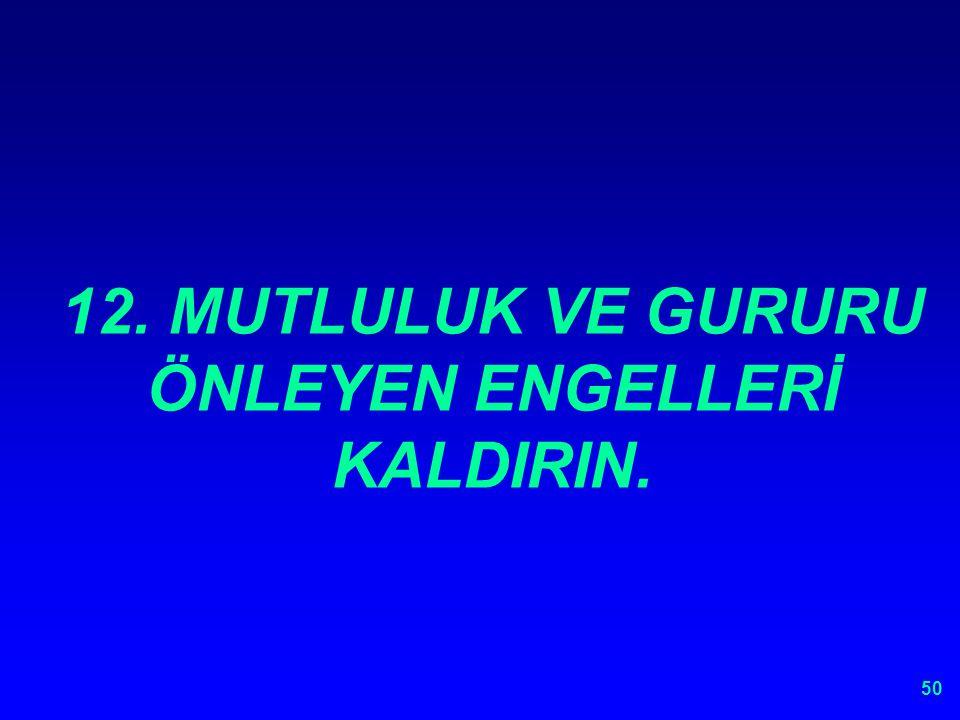 12. MUTLULUK VE GURURU ÖNLEYEN ENGELLERİ KALDIRIN.