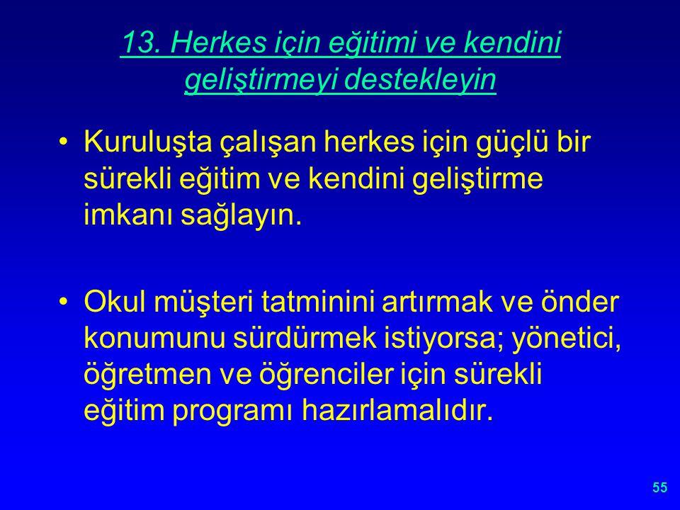 13. Herkes için eğitimi ve kendini geliştirmeyi destekleyin