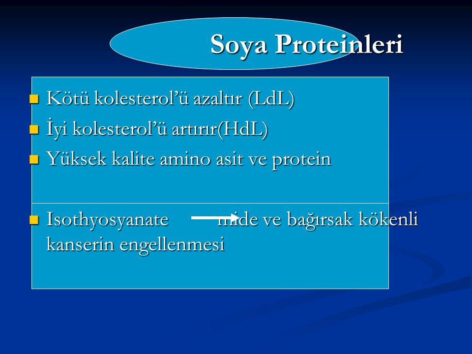 Soya Proteinleri Kötü kolesterol'ü azaltır (LdL)