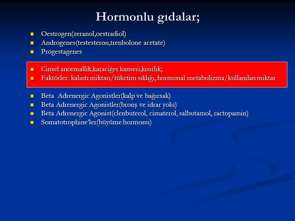 Hormonlu gıdalar; Oestrogen(zeranol,oestradiol)