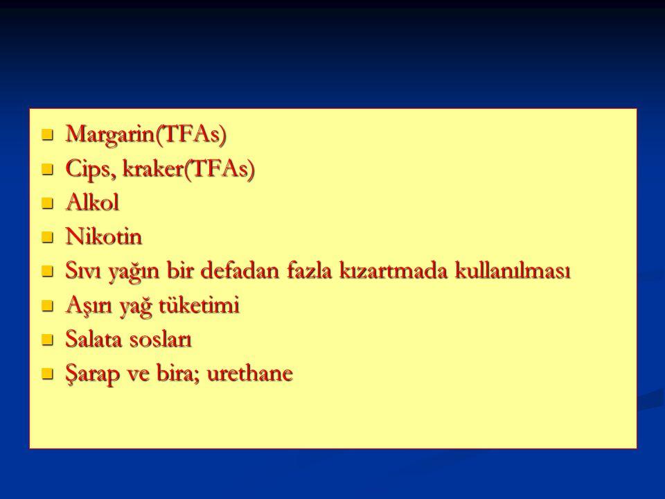 Margarin(TFAs) Cips, kraker(TFAs) Alkol. Nikotin. Sıvı yağın bir defadan fazla kızartmada kullanılması.