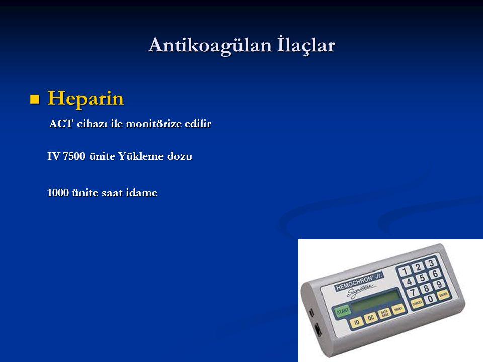 Antikoagülan İlaçlar Heparin ACT cihazı ile monitörize edilir