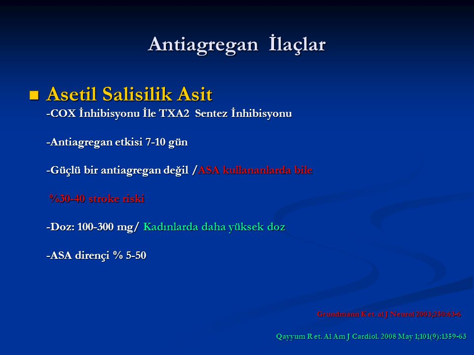 Antiagregan İlaçlar Asetil Salisilik Asit