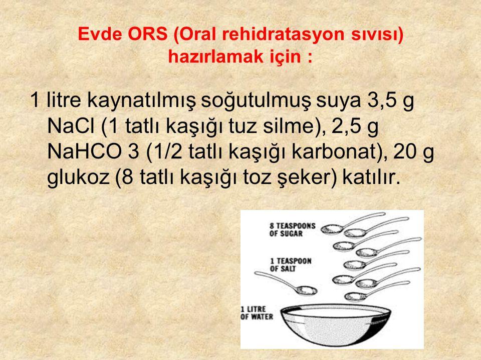 Evde ORS (Oral rehidratasyon sıvısı) hazırlamak için :