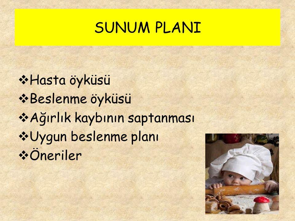 SUNUM PLANI Hasta öyküsü Beslenme öyküsü Ağırlık kaybının saptanması