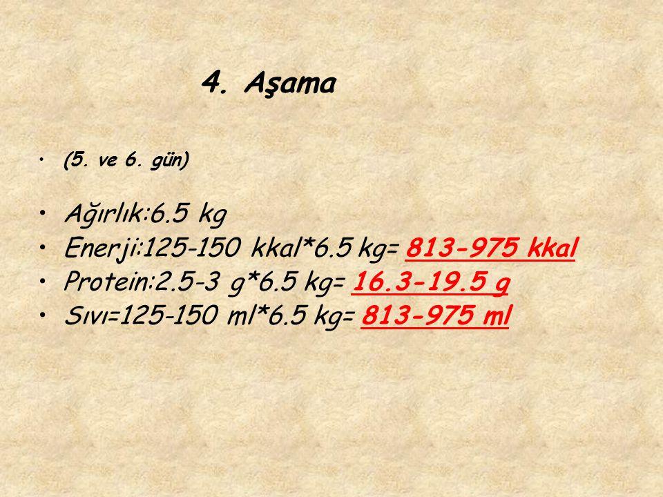 4. Aşama Ağırlık:6.5 kg Enerji:125-150 kkal*6.5 kg= 813-975 kkal