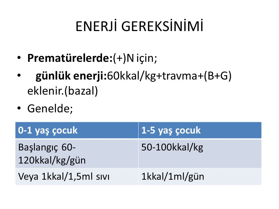 ENERJİ GEREKSİNİMİ Prematürelerde:(+)N için;