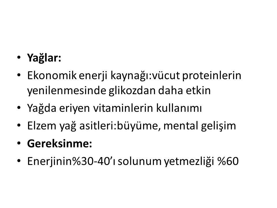 Yağlar: Ekonomik enerji kaynağı:vücut proteinlerin yenilenmesinde glikozdan daha etkin. Yağda eriyen vitaminlerin kullanımı.
