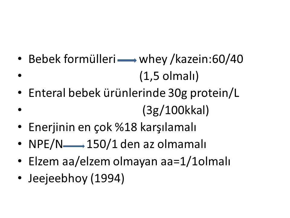 Bebek formülleri whey /kazein:60/40