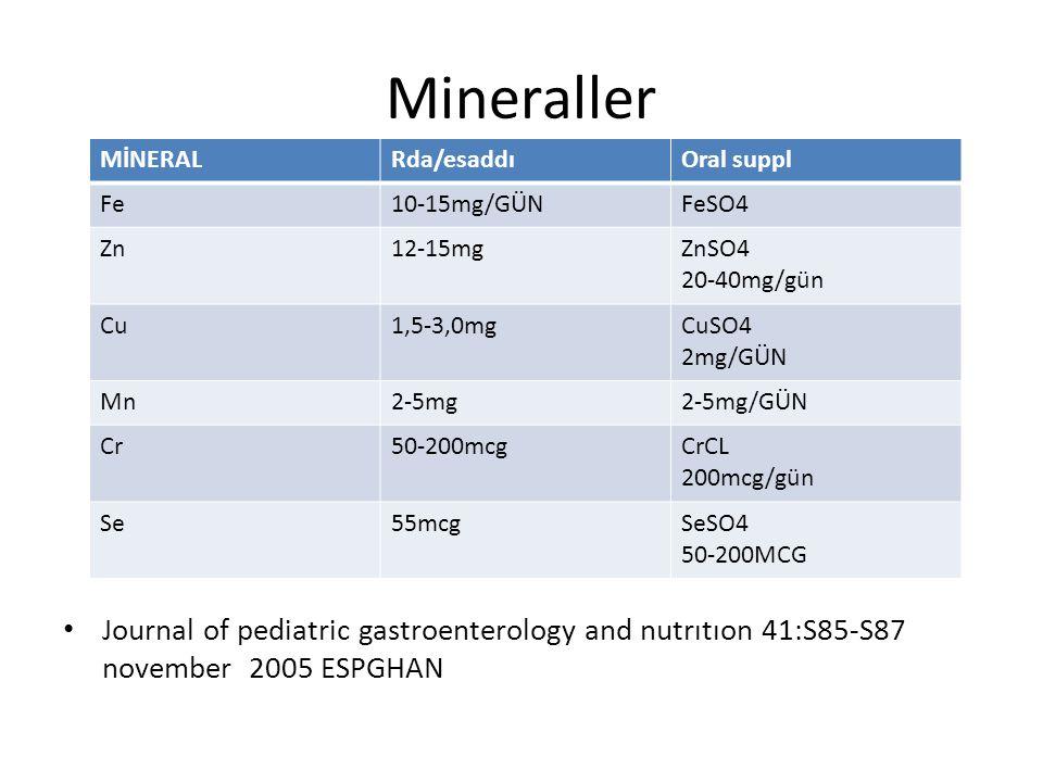 Mineraller MİNERAL. Rda/esaddı. Oral suppl. Fe. 10-15mg/GÜN. FeSO4. Zn. 12-15mg. ZnSO4. 20-40mg/gün.