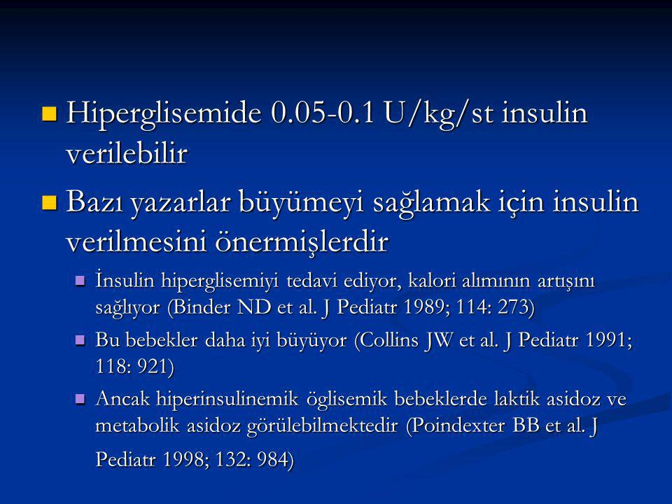 Hiperglisemide 0.05-0.1 U/kg/st insulin verilebilir