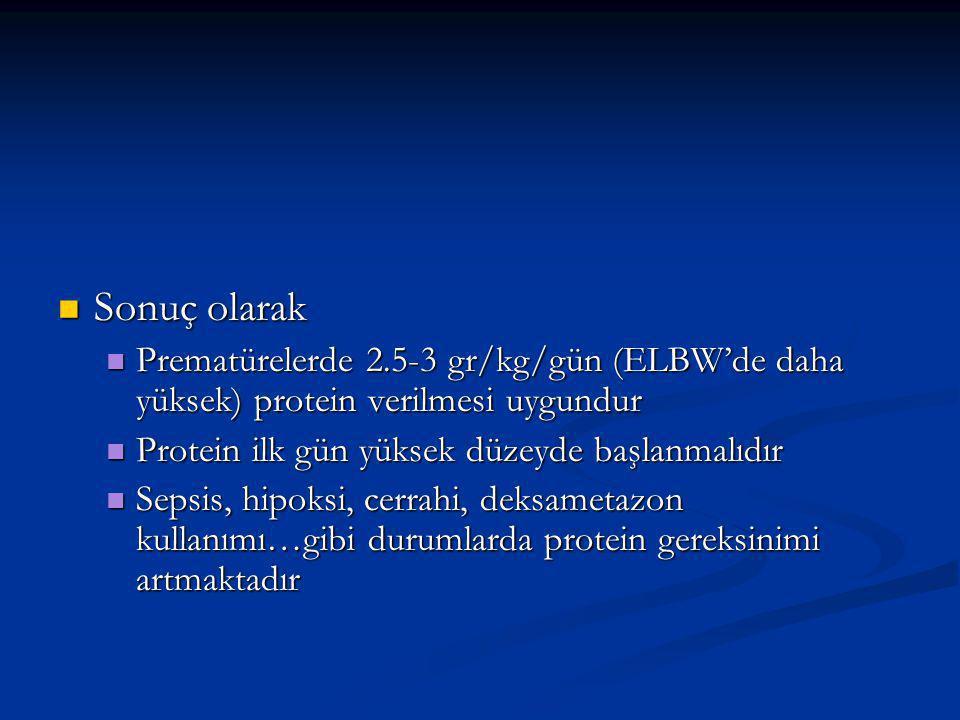 Sonuç olarak Prematürelerde 2.5-3 gr/kg/gün (ELBW'de daha yüksek) protein verilmesi uygundur. Protein ilk gün yüksek düzeyde başlanmalıdır.