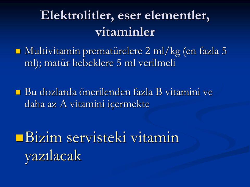 Elektrolitler, eser elementler, vitaminler