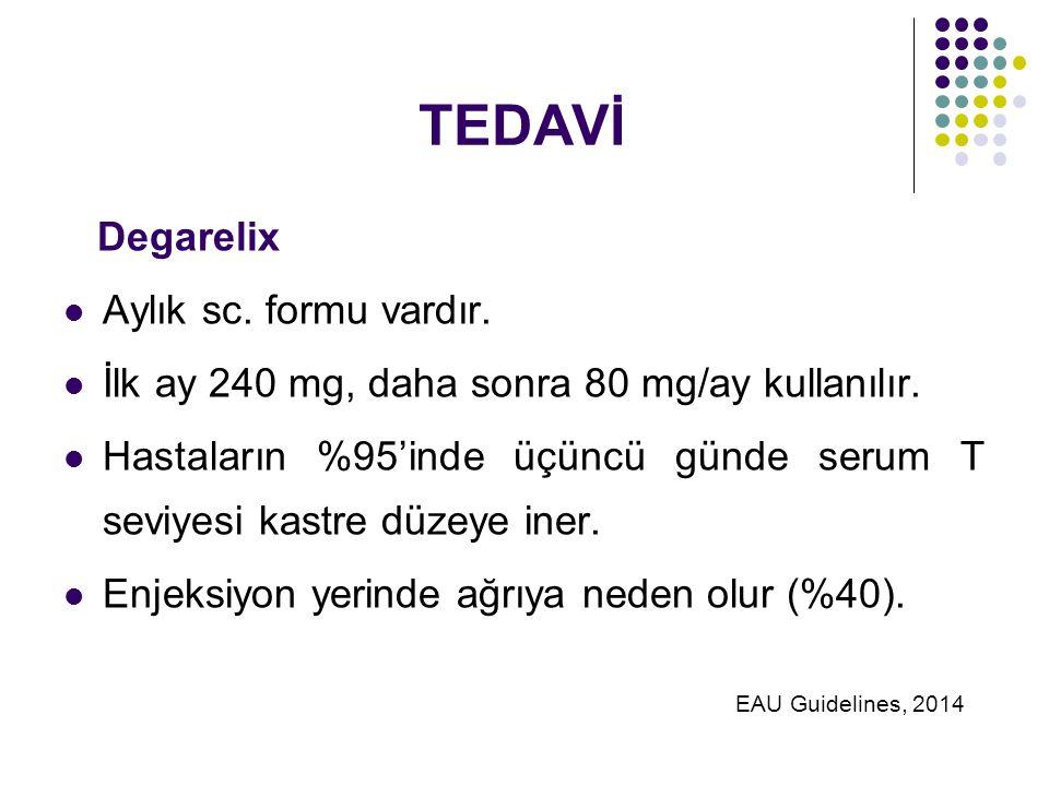 TEDAVİ Degarelix Aylık sc. formu vardır.