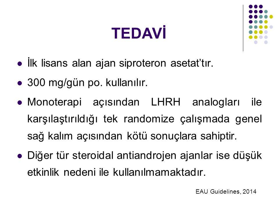 TEDAVİ İlk lisans alan ajan siproteron asetat'tır.