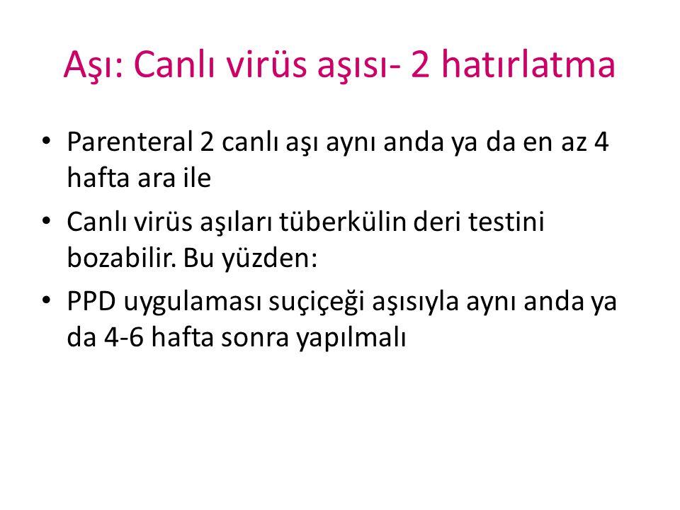 Aşı: Canlı virüs aşısı- 2 hatırlatma