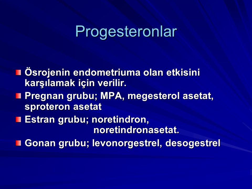 Progesteronlar Ösrojenin endometriuma olan etkisini karşılamak için verilir. Pregnan grubu; MPA, megesterol asetat, sproteron asetat.
