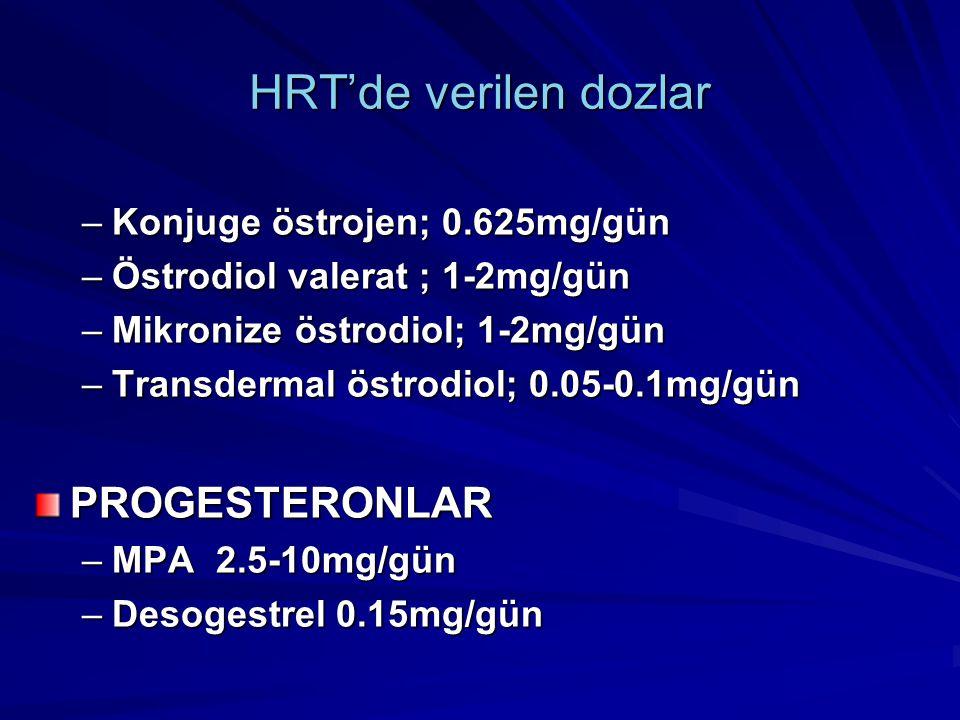 HRT'de verilen dozlar PROGESTERONLAR Konjuge östrojen; 0.625mg/gün