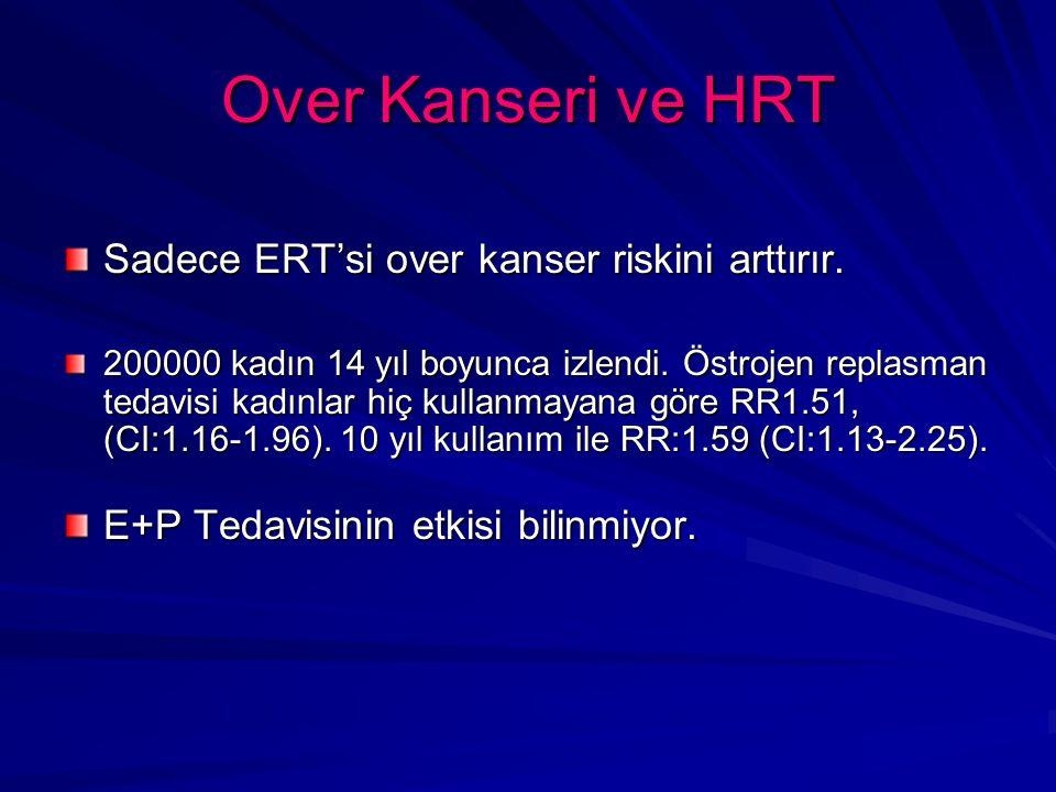 Over Kanseri ve HRT Sadece ERT'si over kanser riskini arttırır.