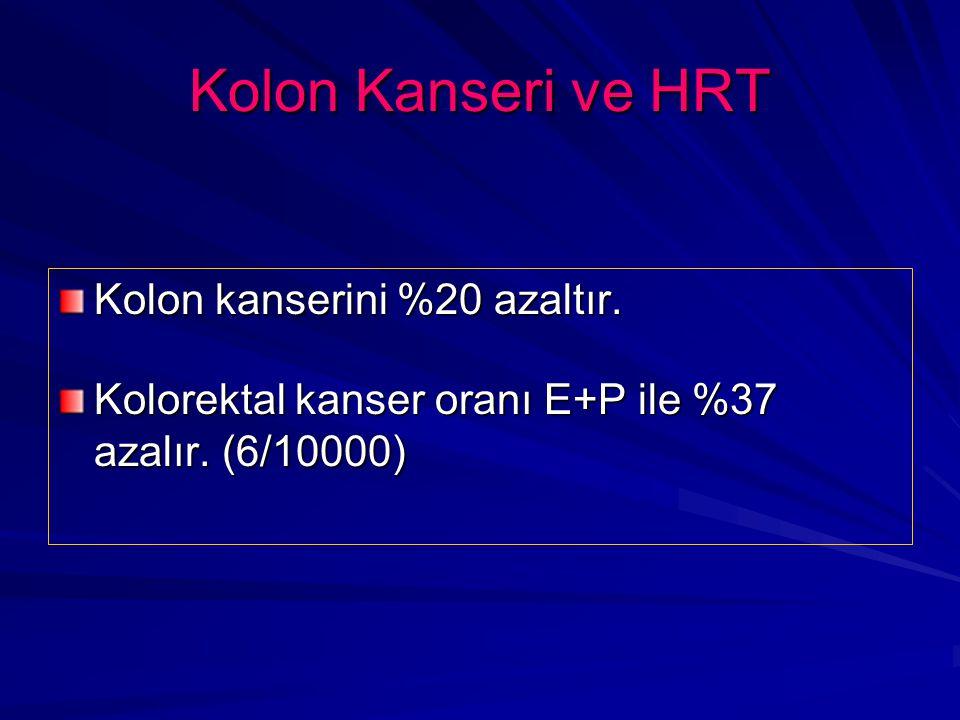 Kolon Kanseri ve HRT Kolon kanserini %20 azaltır.