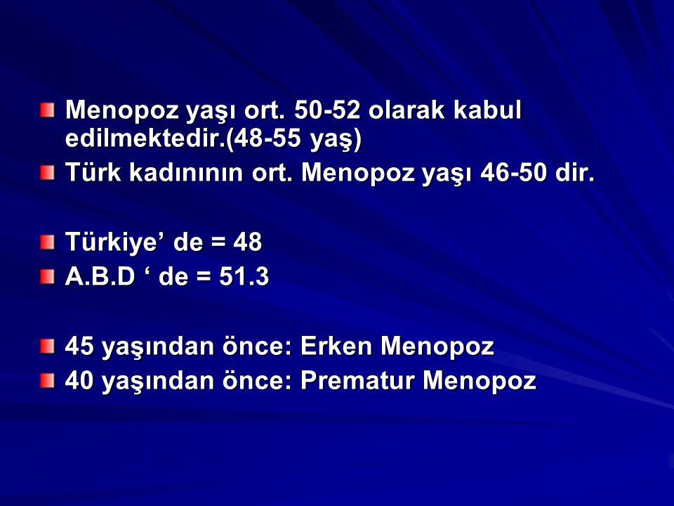 Menopoz yaşı ort. 50-52 olarak kabul edilmektedir.(48-55 yaş)