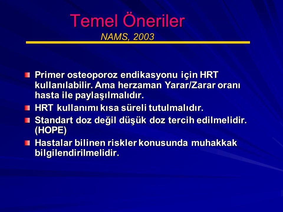 Temel Öneriler NAMS, 2003 Primer osteoporoz endikasyonu için HRT kullanılabilir. Ama herzaman Yarar/Zarar oranı hasta ile paylaşılmalıdır.