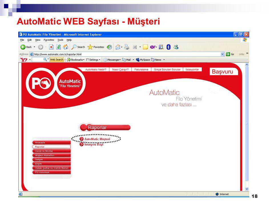 AutoMatic WEB Sayfası - Müşteri