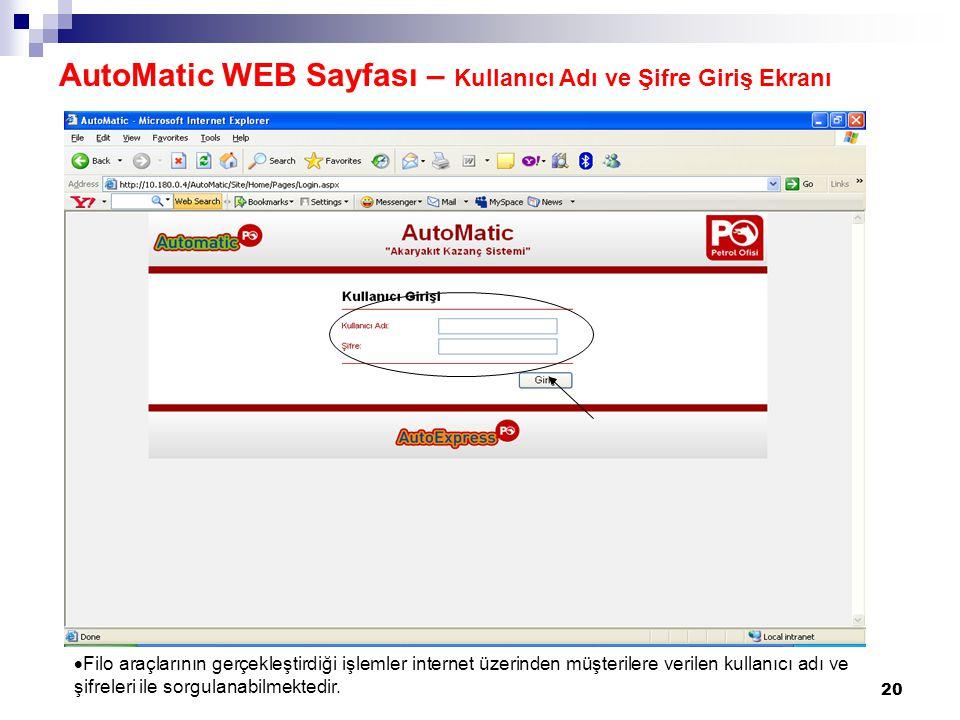AutoMatic WEB Sayfası – Kullanıcı Adı ve Şifre Giriş Ekranı
