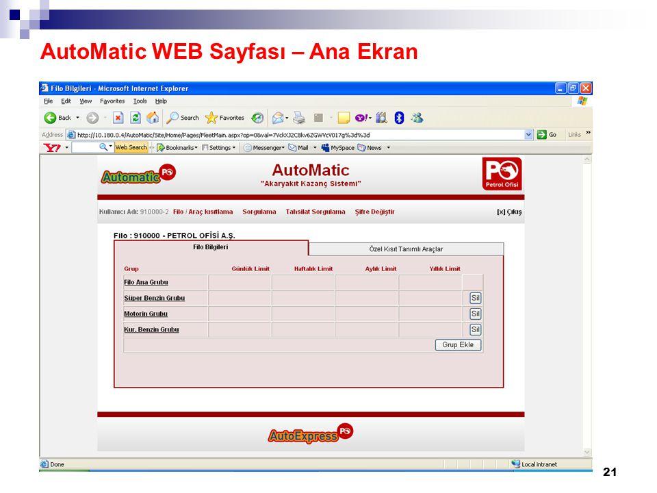 AutoMatic WEB Sayfası – Ana Ekran