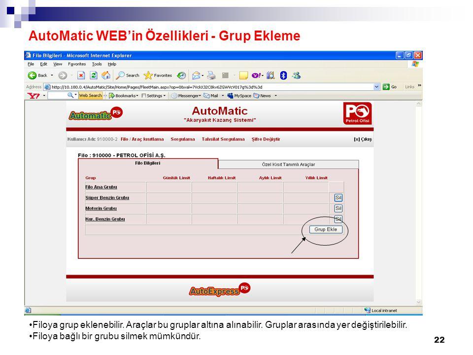 AutoMatic WEB'in Özellikleri - Grup Ekleme