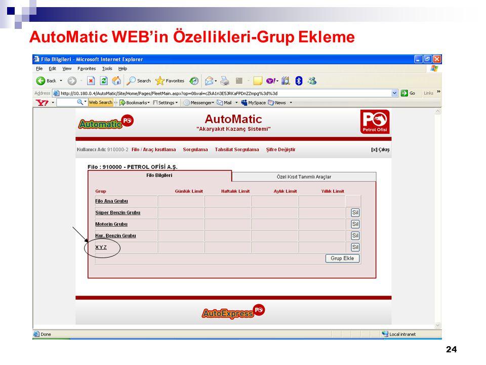 AutoMatic WEB'in Özellikleri-Grup Ekleme