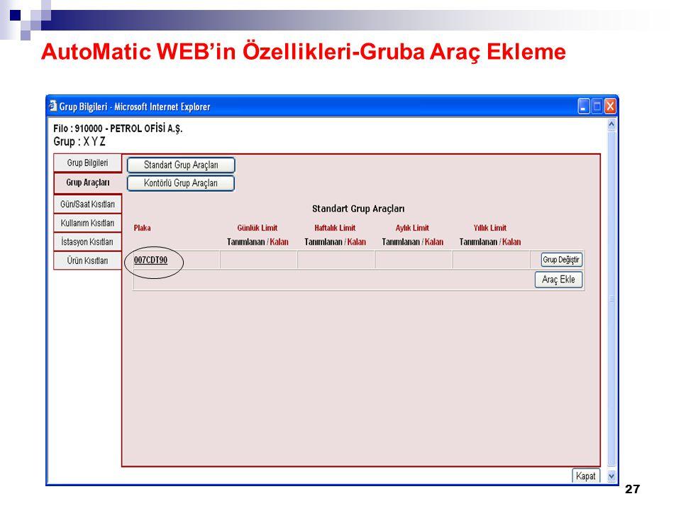 AutoMatic WEB'in Özellikleri-Gruba Araç Ekleme