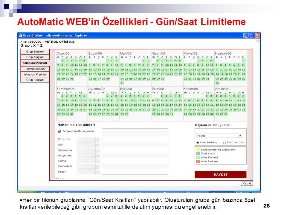 AutoMatic WEB'in Özellikleri - Gün/Saat Limitleme