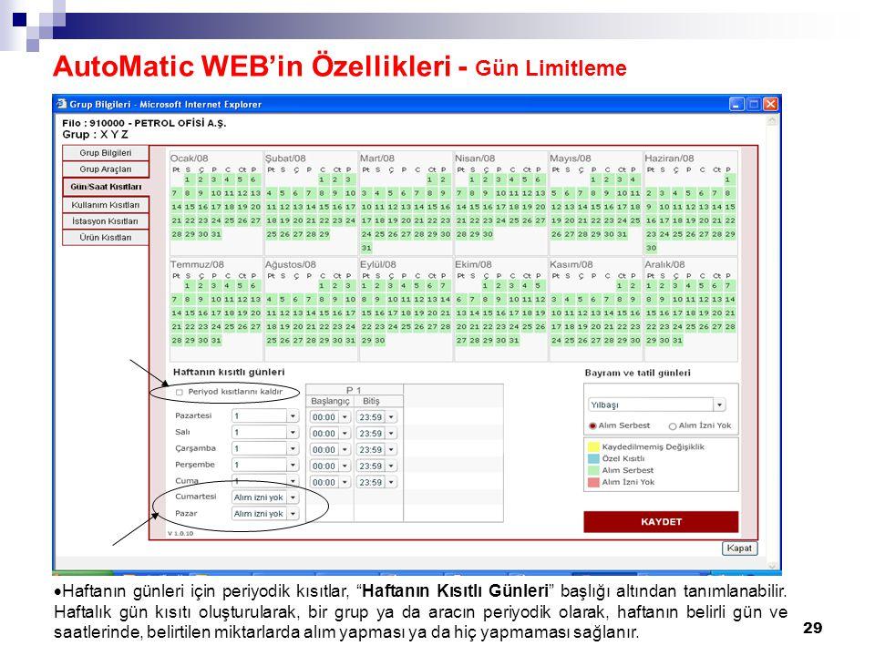 AutoMatic WEB'in Özellikleri - Gün Limitleme
