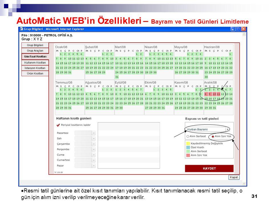 AutoMatic WEB'in Özellikleri – Bayram ve Tatil Günleri Limitleme