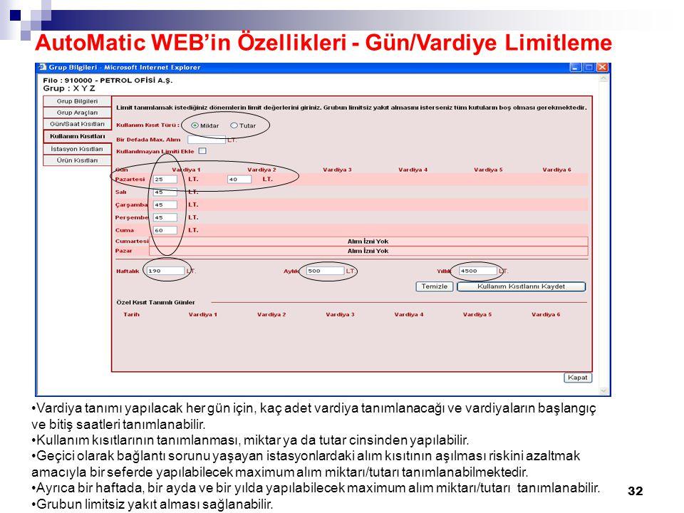 AutoMatic WEB'in Özellikleri - Gün/Vardiye Limitleme