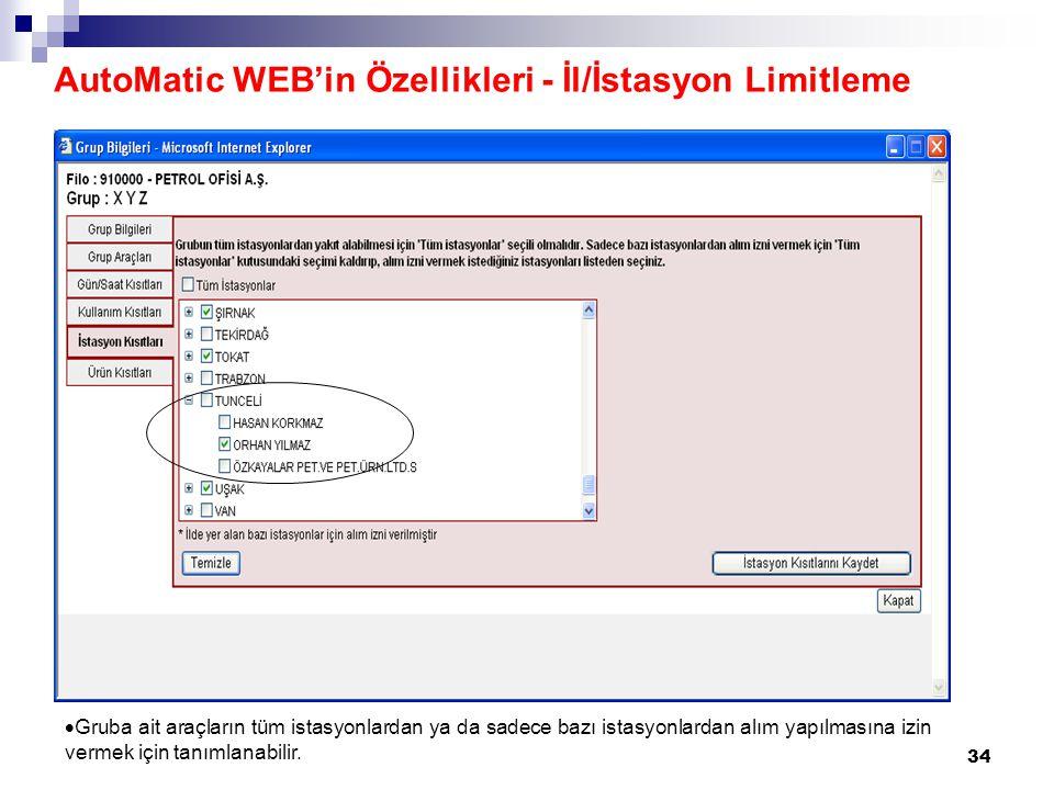 AutoMatic WEB'in Özellikleri - İl/İstasyon Limitleme
