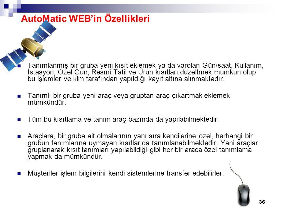 AutoMatic WEB'in Özellikleri