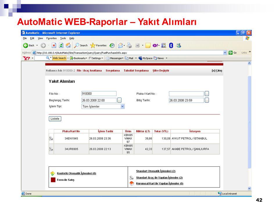 AutoMatic WEB-Raporlar – Yakıt Alımları